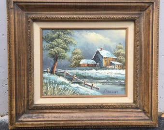 Vintage Rustic Barn Oil Painting of a Winter Scene in Wooden Frame Signed by Artist Deacon
