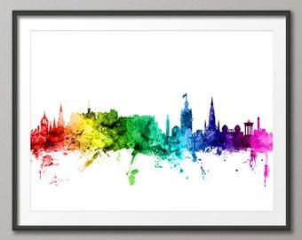 Edinburgh Skyline, Edinburgh Scotland Cityscape Art Print (2432)
