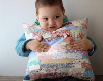 Toddler patchwork pillow. Cotton geometric quilt cozy pillow covers 16 x 16. Baby room decor, cozy pillow.