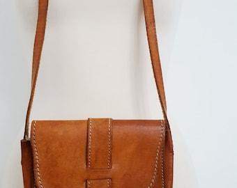 Vintage Leather Bag  Genuine Leather Messenger Vintage leather bag Leather bag Hippie bag 70s bag, Boho Leather bag Messenger Crossbody Bag