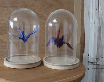 Painted Origami bird in glass Dome/Salem