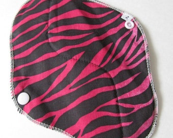Cloth Mama Pad / Reusable Cloth Pad - Regular Flow  - Pink Zebra Printed 8 Inch FREE Shipping