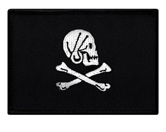 JOLLY ROGER PIRATE flag patch iron-on embroidered Skull Crossbones Henry Every Black White Biker