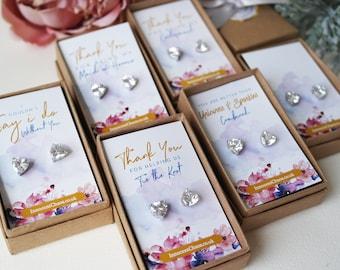 Crystal earrings, heart earrings, rhinestone earrings, white gold, bridesmaid gift, thank you gift, small heart earrings, clear crystal stud