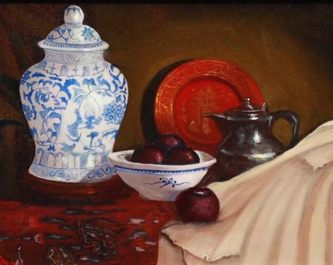 Still Life, Blue Vase Giclee Print on Fine Art Paper or Canvas