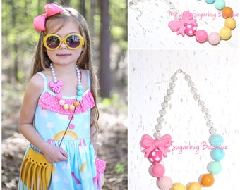 Over the Rainbow Chunky Necklace-M2M Eleanor-Rainbow Necklace-Pastel Rainbow-Bubblegum Necklace-Baby-Toddler-Girls-Women