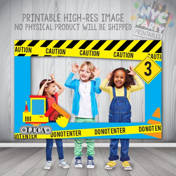 Construction Party Photo Booth Frame Printable PhotoBooth