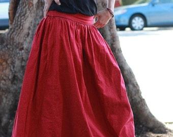 Double-Sided Maxi Long Cotton Beautiful Feminine Skirt