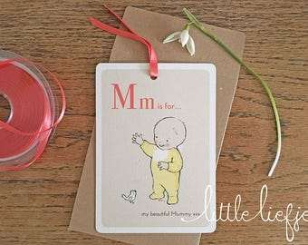 Mm is for my beautiful Mummy, I Love You!, Mother's Day Card, Postcard, Alphabet Print, Vintage Print, Greeting Card, Cards