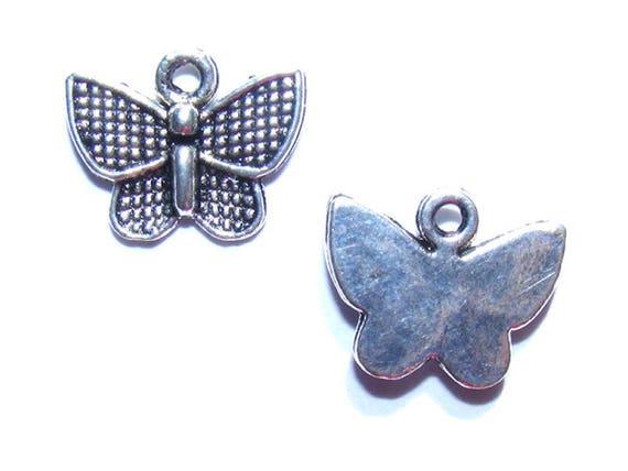 LAST LOT - Charms butterflies silver 12mm x 6