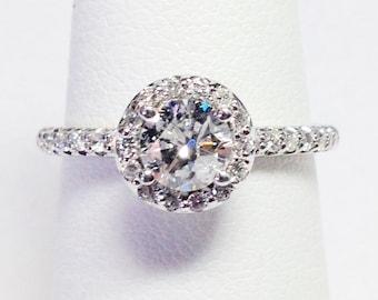 1.00CT Diamond Round Halo Engagement Ring Anniversary Rings Wedding Bands Promise Rings Diamonds Platinum, 18K, 14K White, Yellow, Rose Gold