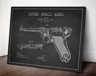 1904 Luger Pistol Patent Canvas Print, Gun Patent, Pistol Print, Patent Art, Wall Art, Home Decor, Gift Idea, WE03C