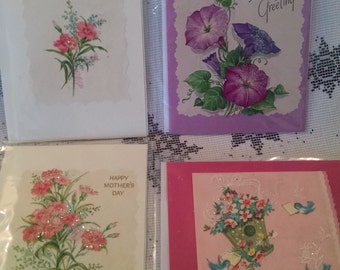 Greeting cards, handmade card, vintage greeting card, Mothers day card, greeting card, handmade, vintage paper,flower card, vintage flower