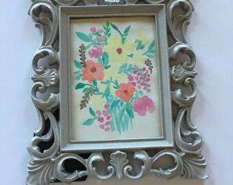 Framed Floral Watercolor Art