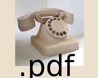 Telephone Papercraft PDF - DIY Template