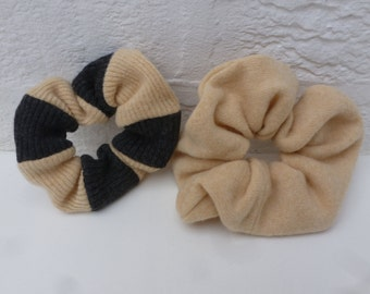 Two scrunchies yellow and grey hair care accessories wool scrunchy dread hairbands ponytailer gift hair ties back to school bun holders.