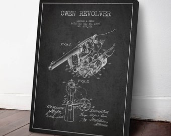 1899 Owen Revolver Patent Canvas Print, Revolver Print, Gun Decor, Patent Art, Wall Art, Home Decor, Gift Idea, WE06C