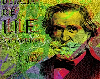 Giuseppe Verdi Portrait Banknote Pop Art - giclee on canvas