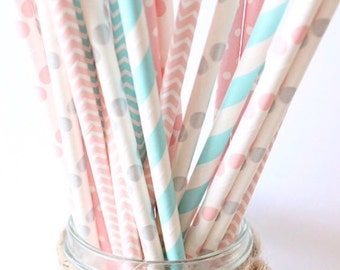 Gender reveal straws-set of 25, gender reveal party, pink, blue and gray straws, baby showers, weddings, cotton candy straws
