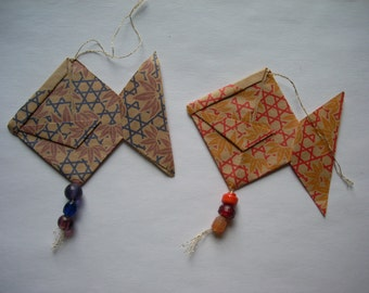 Origami Fish and Glass Bead Ornament