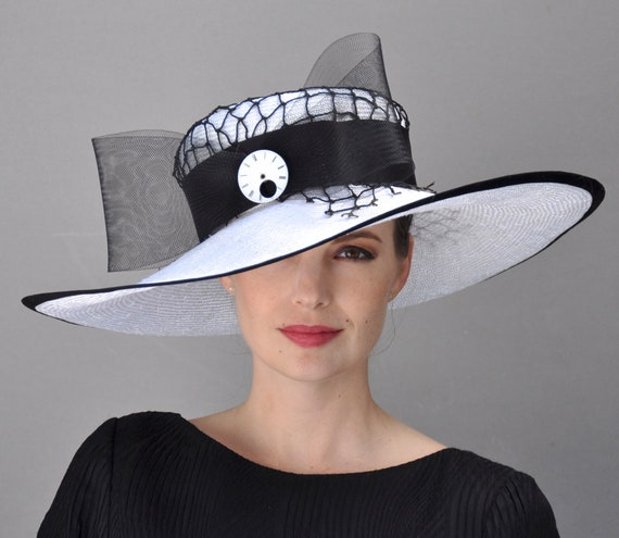 Kentucky Derby Hat, Derby Hat, Ascot Hat, Occasion Hat, Black and White Hat, Formal hat
