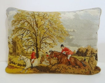 Vintage Lillian Vernon Equestrian Pillow Horse Fox Hunt Embroidery Pillow Cover