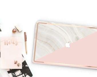 Marble Stone and Pink Rose Gold . Macbook Pro 13 Case Macbook Air Case Laptop Case Macbook Case . Rose Gold Chrome Edge - Platinum Edition