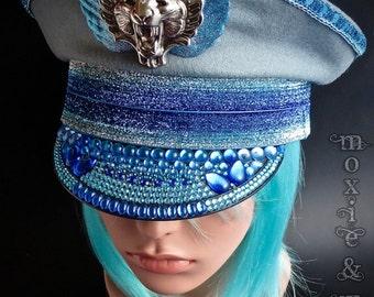 "Burning Man Festival Hat: ""Blue Steel""  ~ Size 58cm"