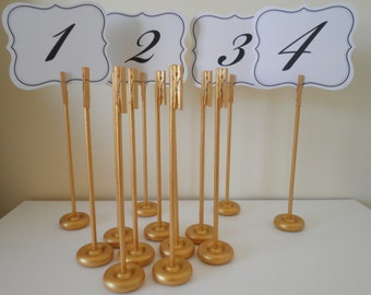 Set of 20 Handmade Extra Tall Gold Wood Table Number Holders - Wedding Guest Table Number Stands -  Glimmering Rustic Elegance