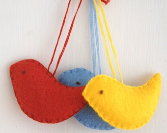 Bird Christmas Decorations - Colorful Ornaments for a Christmas Tree - Flock of 3 Birds