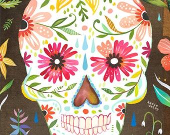 Sugar Skull Art Print | Day of The Dead | dia de los muertos | Watercolor Wall Art |  | Katie Daisy | 8x10 | 11x14
