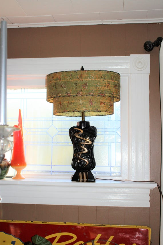 Vintage Mid Century Table Lamp and 2 Tier Oval Shade Black Gold 1950s