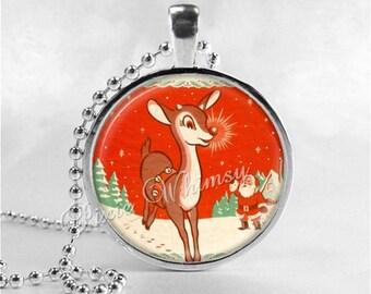 REINDEER Necklace, Christmas Necklace, Vintage Christmas, Christmas Jewelry, , Retro Christmas Jewelry