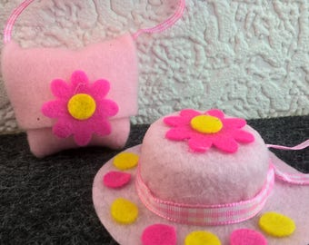 Pink felt hat for Barbie, with polka dot brim and flower decoration with matching handbag. OOAK  hat and purse. Doll accessories.