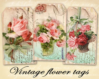 Vintage gift tags Printable download tags on Digital collage sheet Shabby flower tags