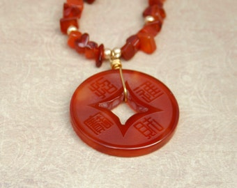 Carnelian necklace with Asian style carnelian coin pendant