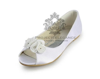 Alice - Peep toe Ivory/ white Ballerina Flat Shoes Size US 4 5 6 7 8 9 10 11 12