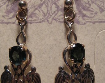 Blue Green Sapphire Earrings  ... 14 kt Gold and Sterling Silver  .....   E105