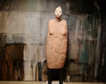 Standing Woman in Orange Dress/ Ceramic Colorful Unique Standing Sculpture/ Female Figure