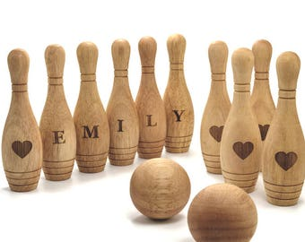 Personalized Wooden Toy 10 Pin Bowling Game Set Bowling Game Wooden toys for Toddlers Bowling Set Gift for Baby Christmas Gift for Baby boy