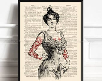 Tattooed Lady Print, Tattooed Victorian, Mens Gifts, Tattoo Print Gift, Stocking Stuffer, 4th Year Anniversary, Gift for Coworker Parlor 046