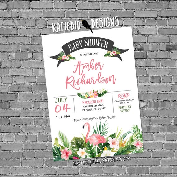 tropical wedding invitation floral chic invite hawaiian theme baby girl flamingo 1st birthday party retirement luau 1384 katiedid designs