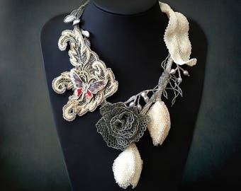 Statement necklace with silver rose, ivory tulips, natural pearls and rhinestone butterfly - Artisan jewelry - Exclusive elegance