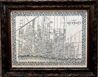 City of Detroit Map Print of an 1872 Map on Parchment Paper