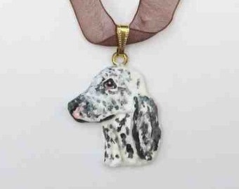 Dog Breed ENGLISH SETTER Black Handpainted Clay Necklace/Pendant Artist Painted