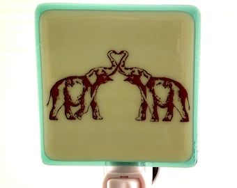 Elephant Kiss Night Light Fused Glass