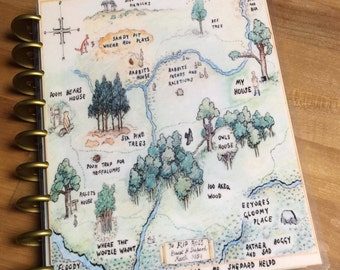 Front and Back Cover Set Winnie the Pooh Wood Map for use with Erin Condren or Happy Planner