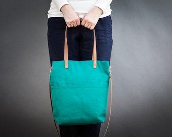 Canvas bag, green, Crossbody, outside pocket, leather straps, canvas, tote bag, handbag, shopping bag, shoulder bag, day bag, Medium, Ida