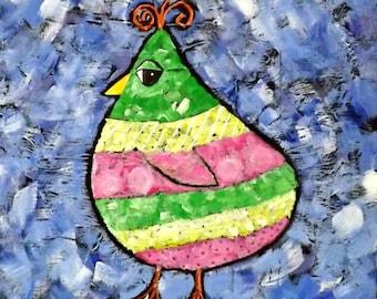 Pastel Bird Acrylic Painting, Original Painting, Bird, Patridge, Pink, Mint Green , Yellow, Whimsical Art, Home Decor
