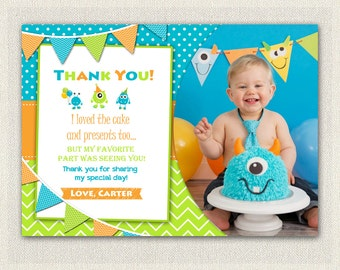 Monster birthday monster party monster thank you card photo boys blue orange and green monster thank you card printable download birthday thank you bookmarktalkfo Image collections